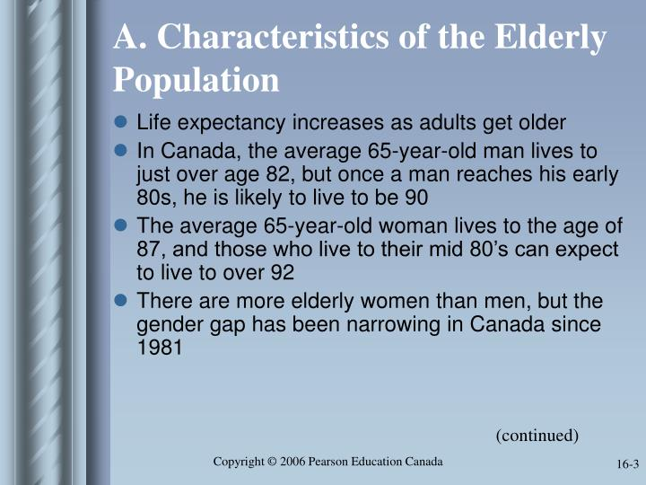 A characteristics of the elderly population