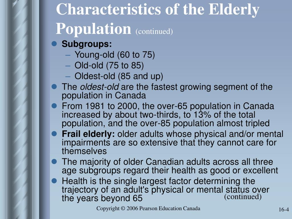 Characteristics of the Elderly Population