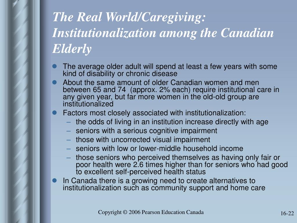 The Real World/Caregiving:  Institutionalization among the Canadian Elderly