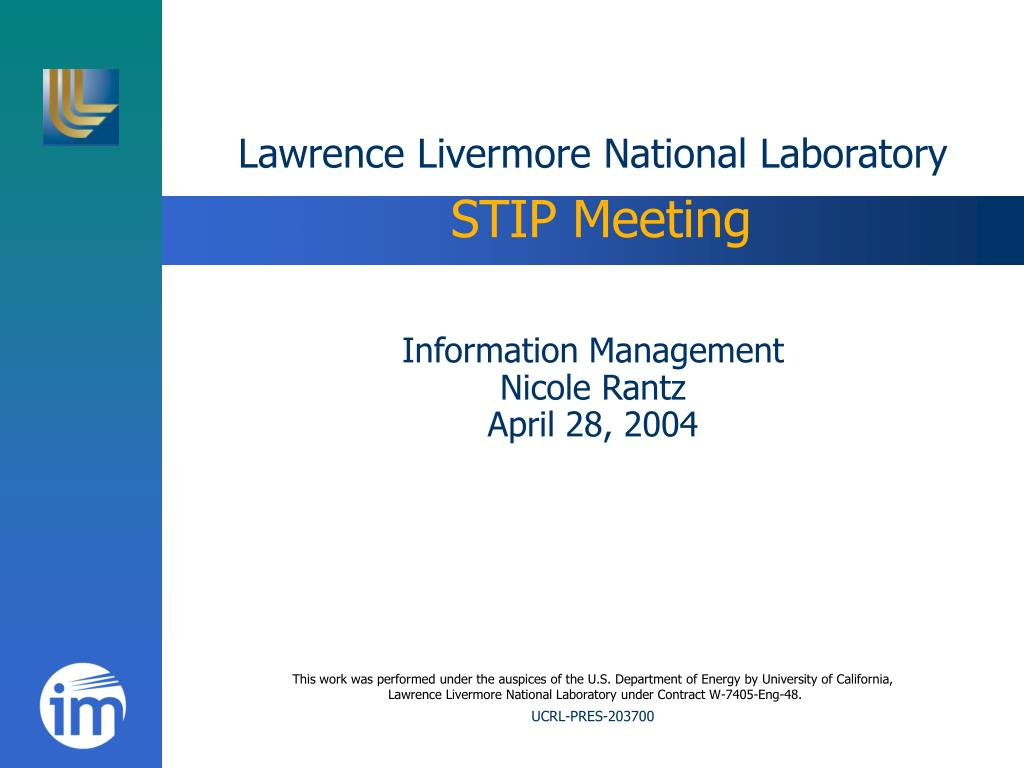 lawrence livermore national laboratory stip meeting l.
