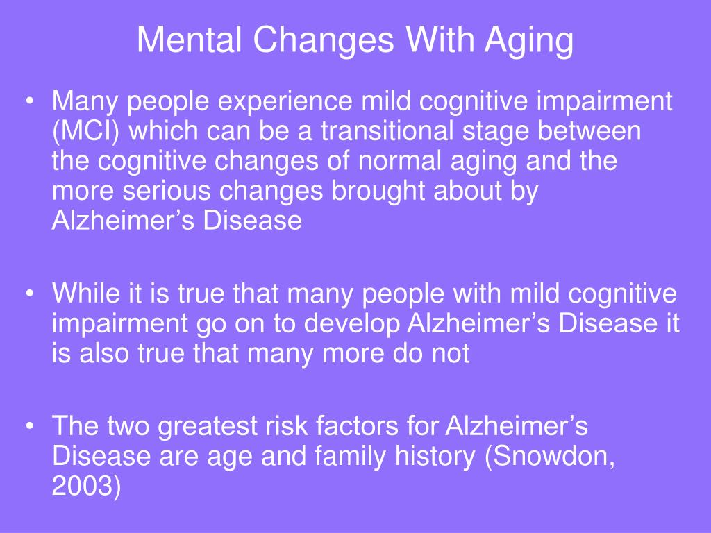 Mental Changes With Aging
