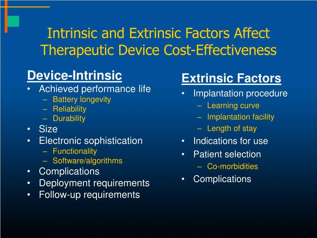 Intrinsic and Extrinsic Factors Affect Therapeutic Device Cost-Effectiveness