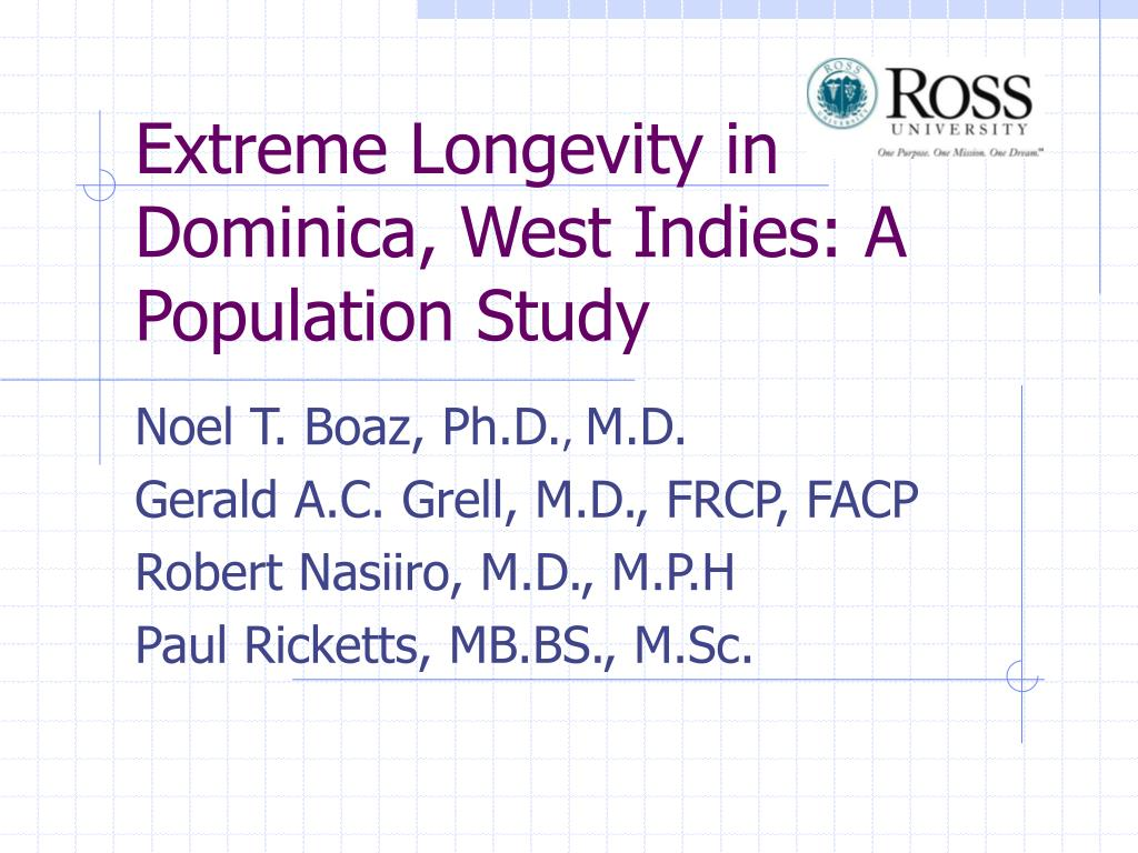 extreme longevity in dominica west indies a population study l.