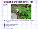 functional independence mr wjf