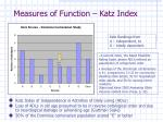 measures of function katz index