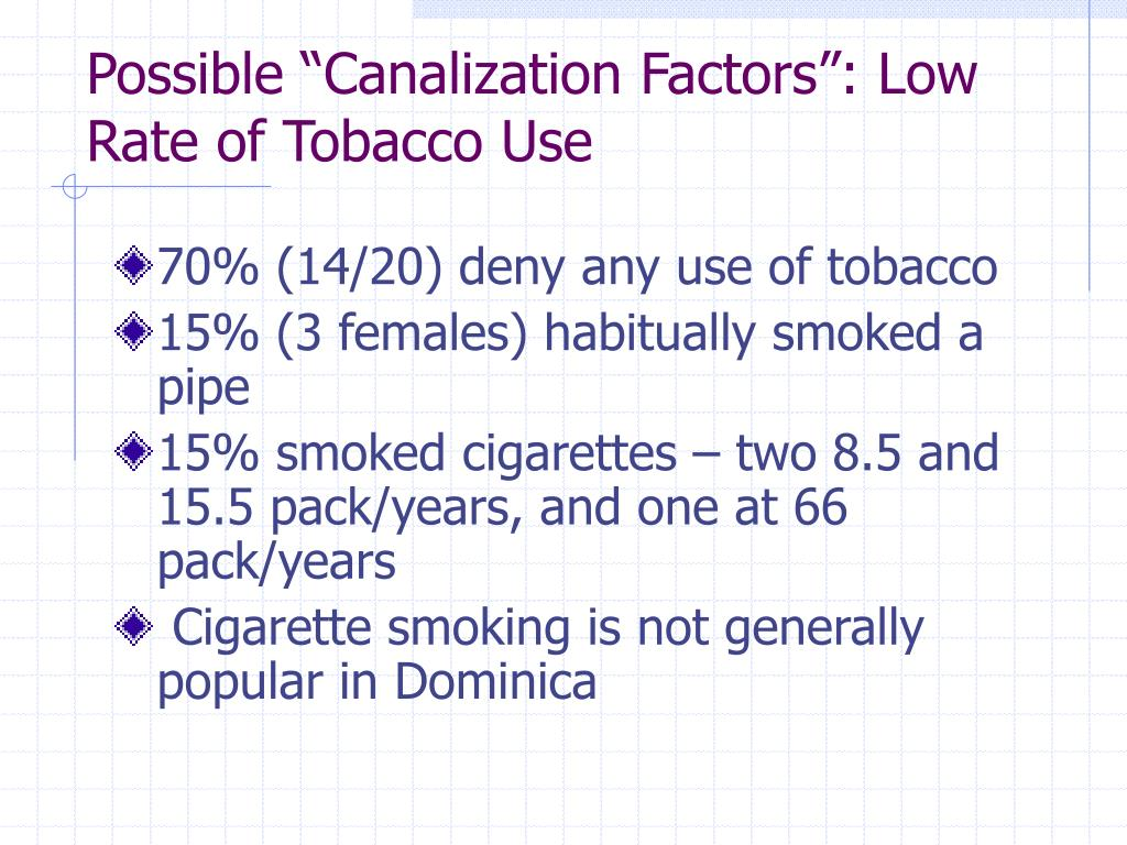 "Possible ""Canalization Factors"": Low Rate of Tobacco Use"