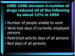 1983 1996 increase in number of drugs reduced all of the following by about 12 in 1996