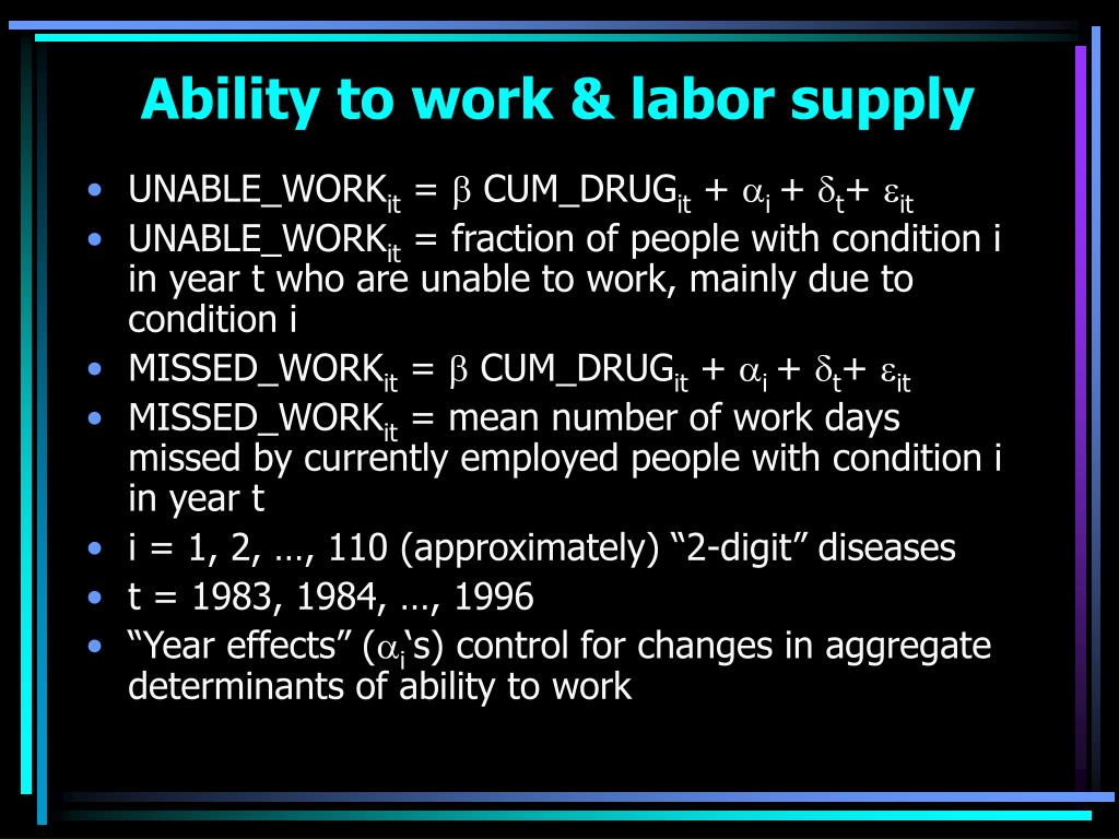 Ability to work & labor supply