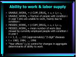 ability to work labor supply
