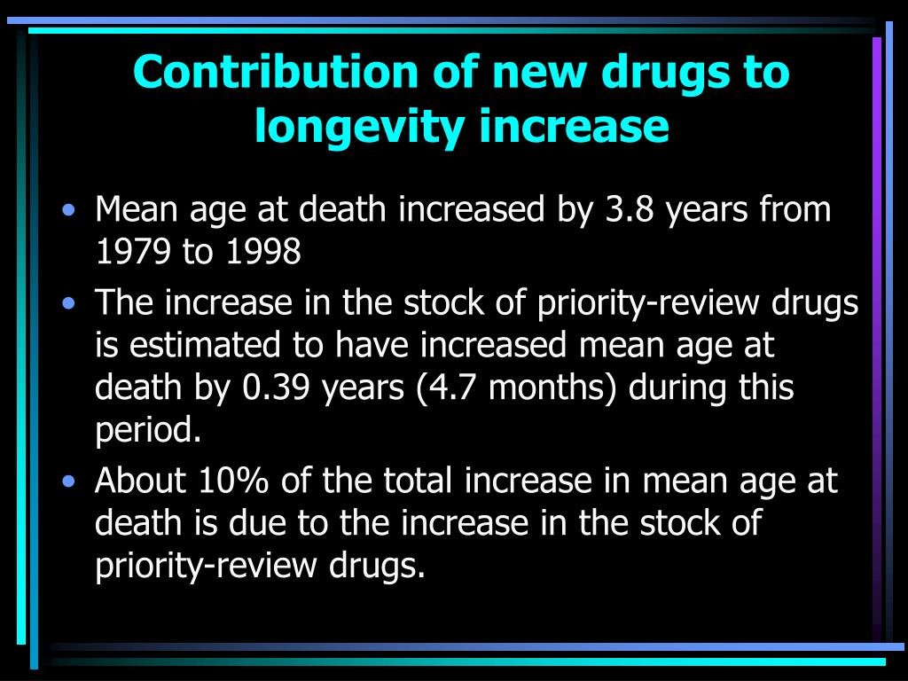 Contribution of new drugs to longevity increase