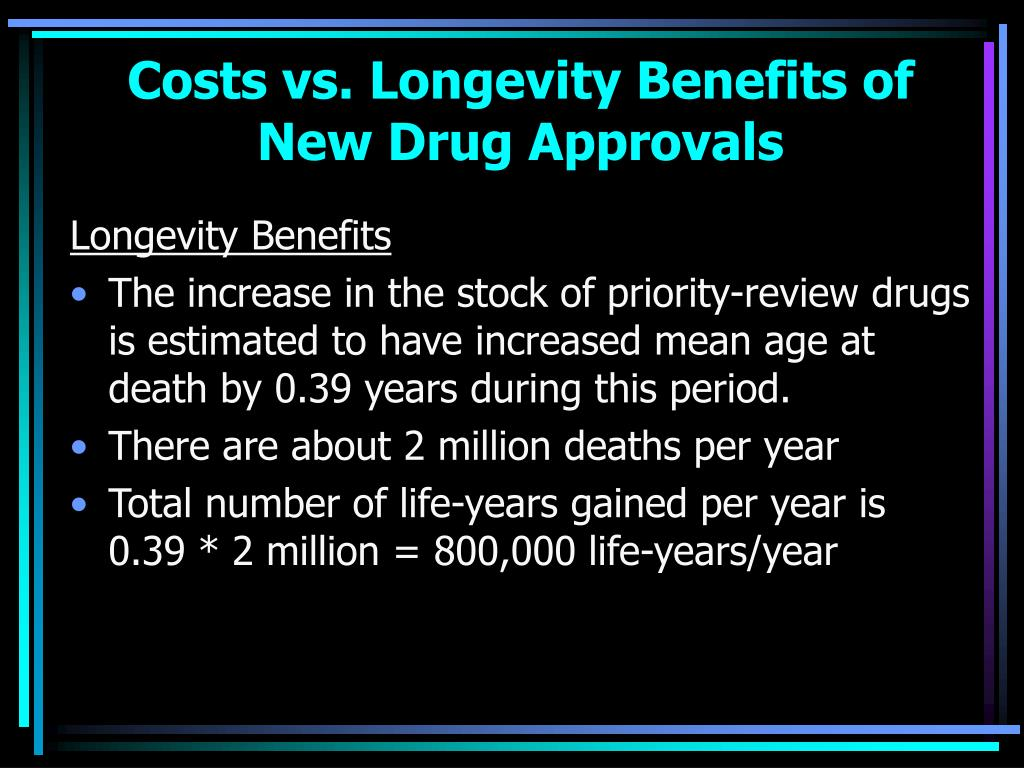 Costs vs. Longevity Benefits of New Drug Approvals