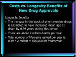 costs vs longevity benefits of new drug approvals49