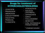 drugs for treatment of hypercholesterolemia