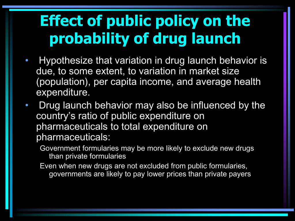 Effect of public policy on the probability of drug launch