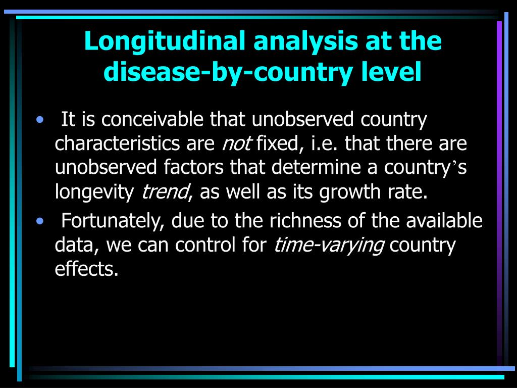 Longitudinal analysis at the disease-by-country level