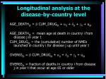 longitudinal analysis at the disease by country level67
