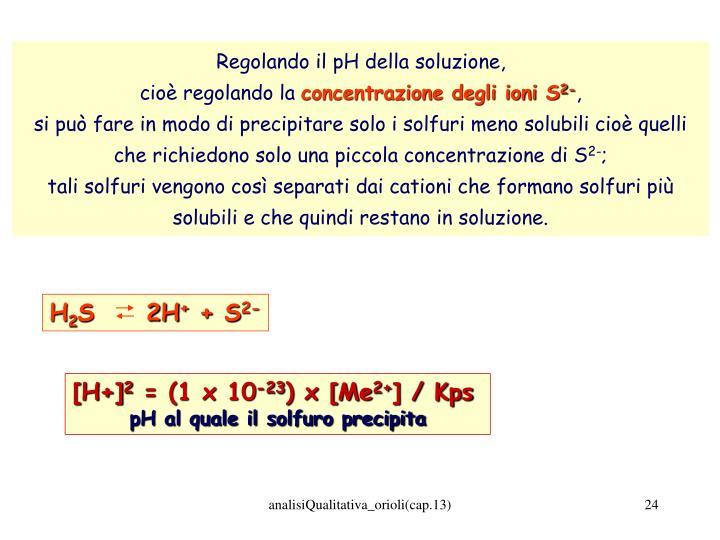 Regolando il pH della soluzione,