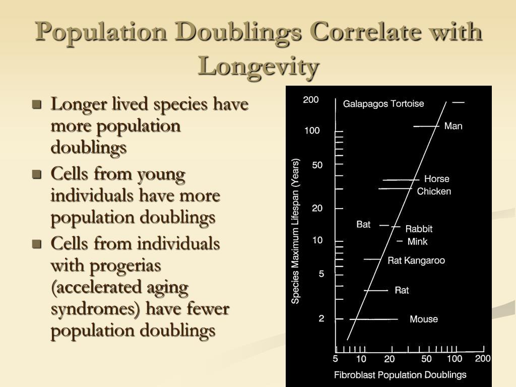 Population Doublings Correlate with Longevity