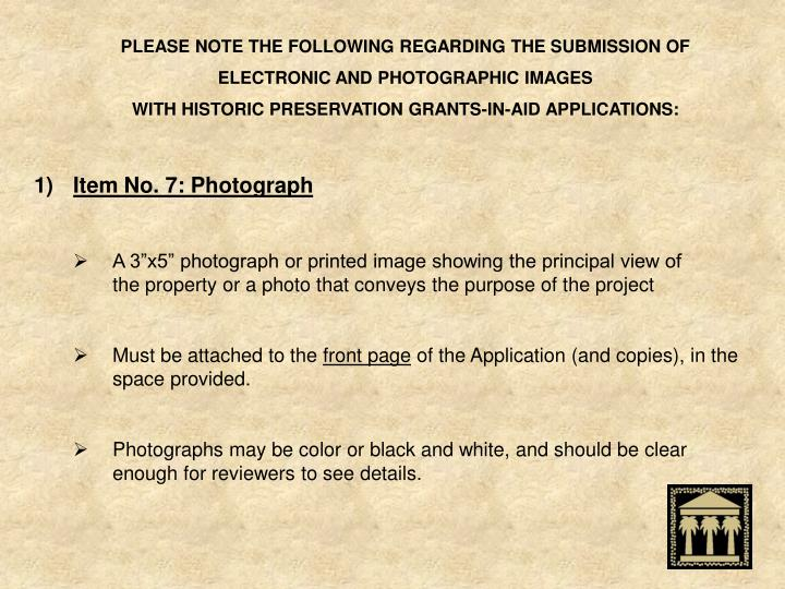 PLEASE NOTE THE FOLLOWING REGARDING THE SUBMISSION OF