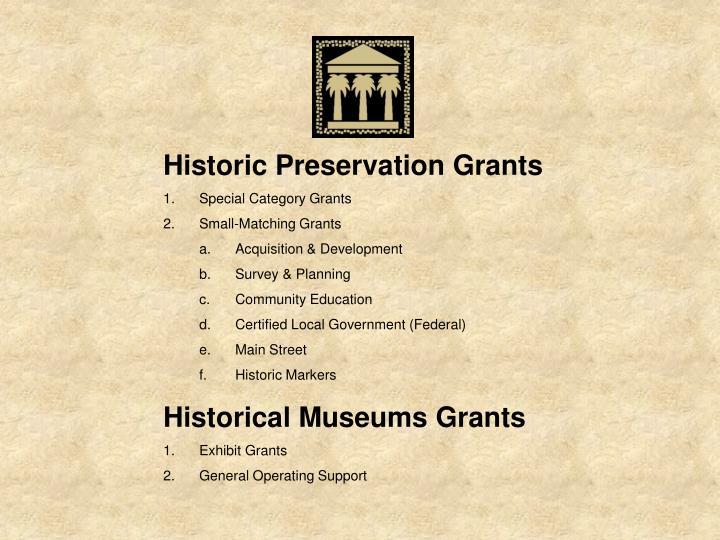 Historic Preservation Grants
