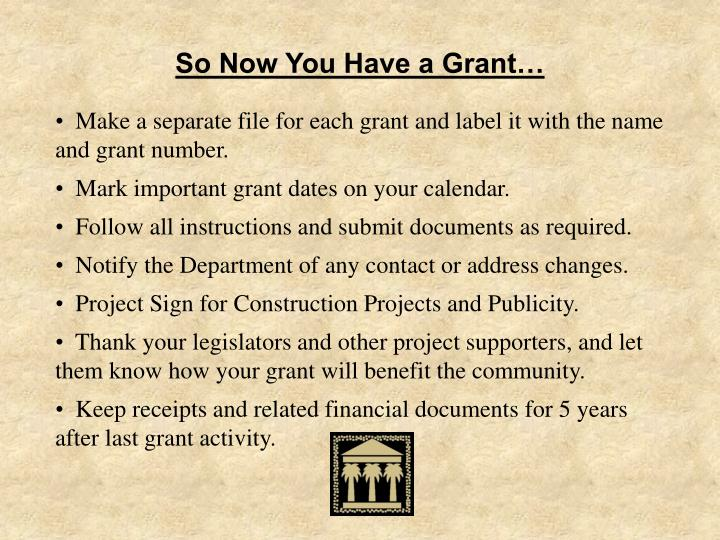 So Now You Have a Grant…