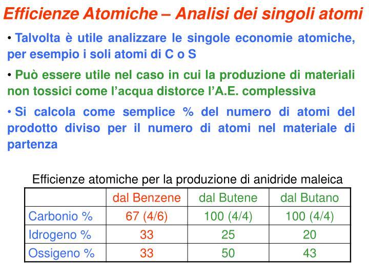 Efficienze Atomiche – Analisi dei singoli atomi