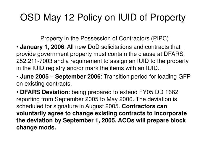 osd may 12 policy on iuid of property n.