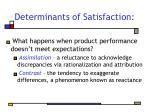 determinants of satisfaction