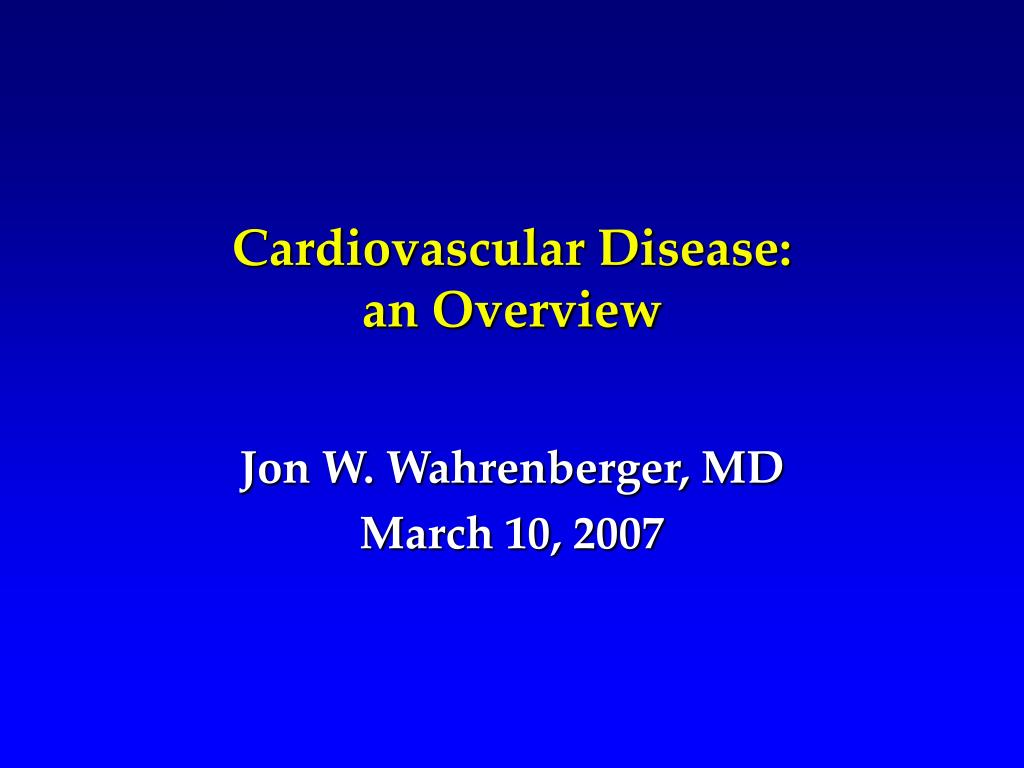 cardiovascular disease an overview l.