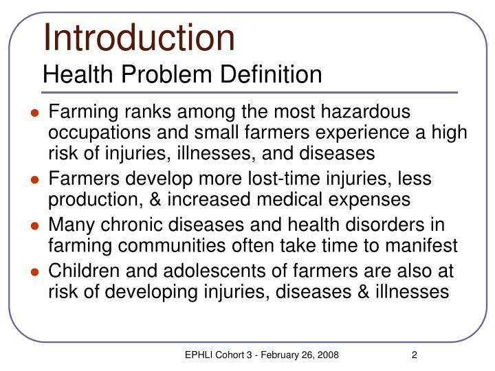 Introduction health problem definition