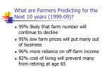 what are farmers predicting for the next 10 years 1999 09