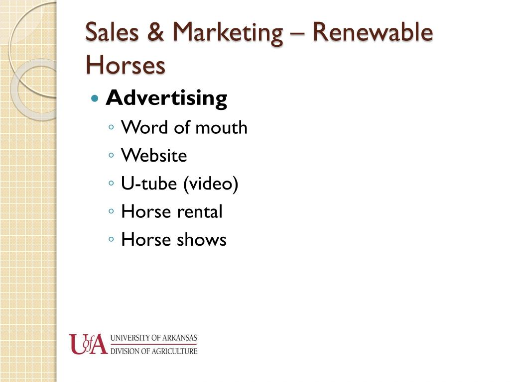 Sales & Marketing – Renewable Horses