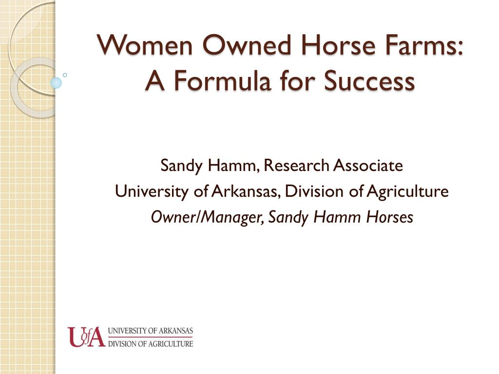 women owned horse farms a formula for success l.
