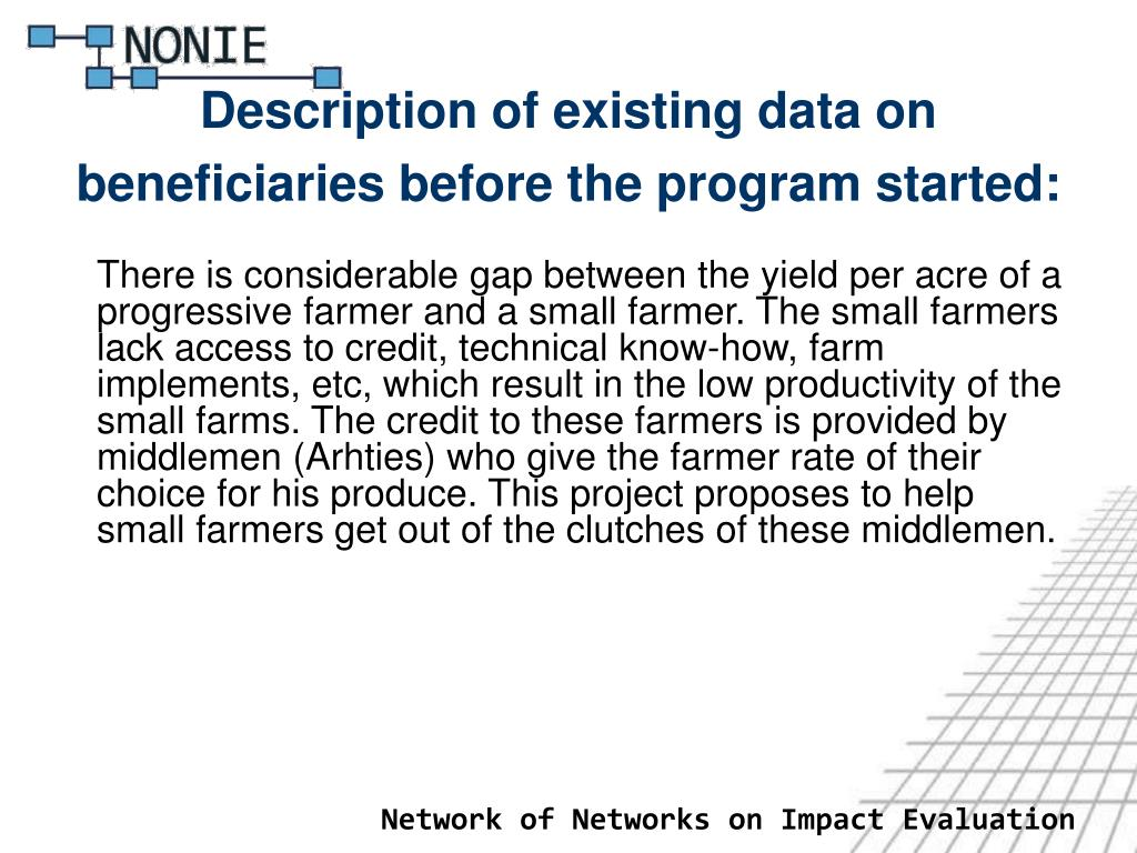 Description of existing data on beneficiaries before the program started:
