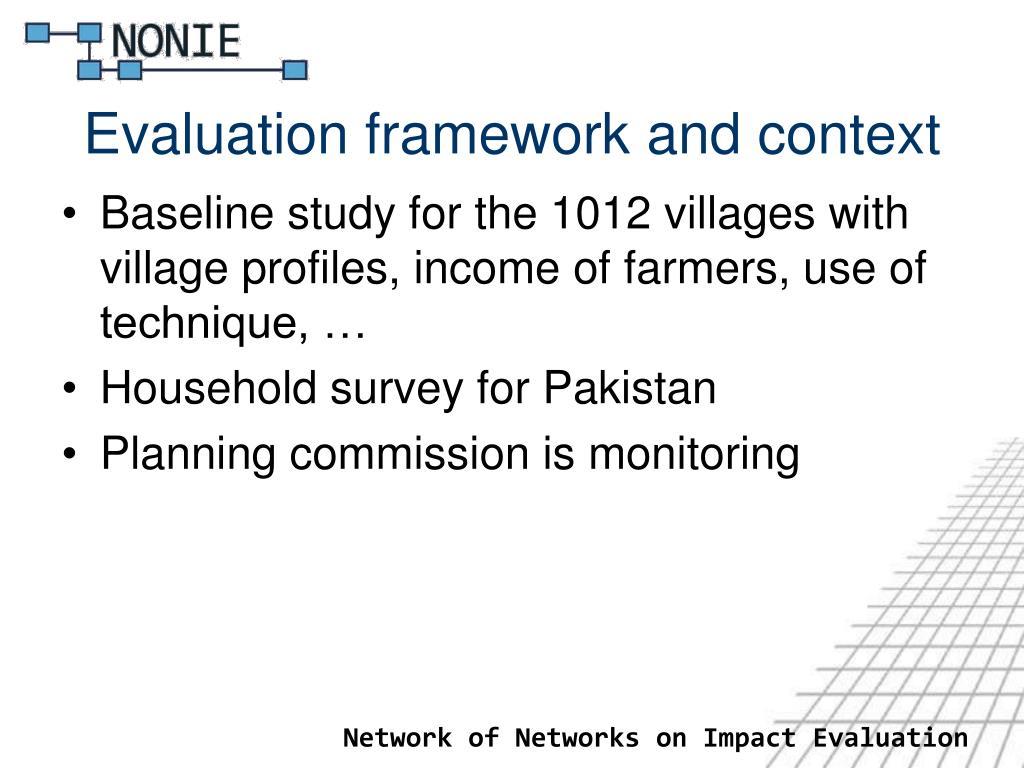 Evaluation framework and context