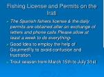 fishing license and permits on the irati