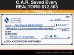 c a r saved every realtor 12 303