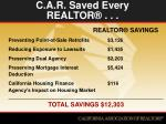 c a r saved every realtor