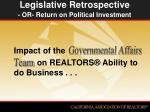 legislative retrospective or return on political investment