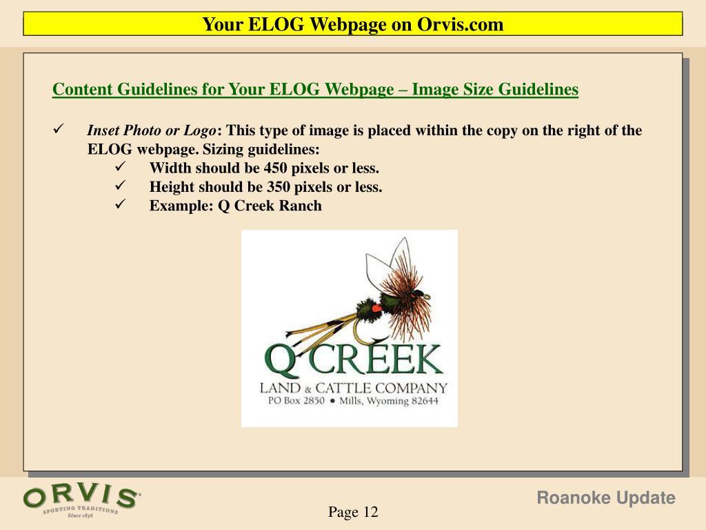 Your ELOG Webpage on Orvis.com