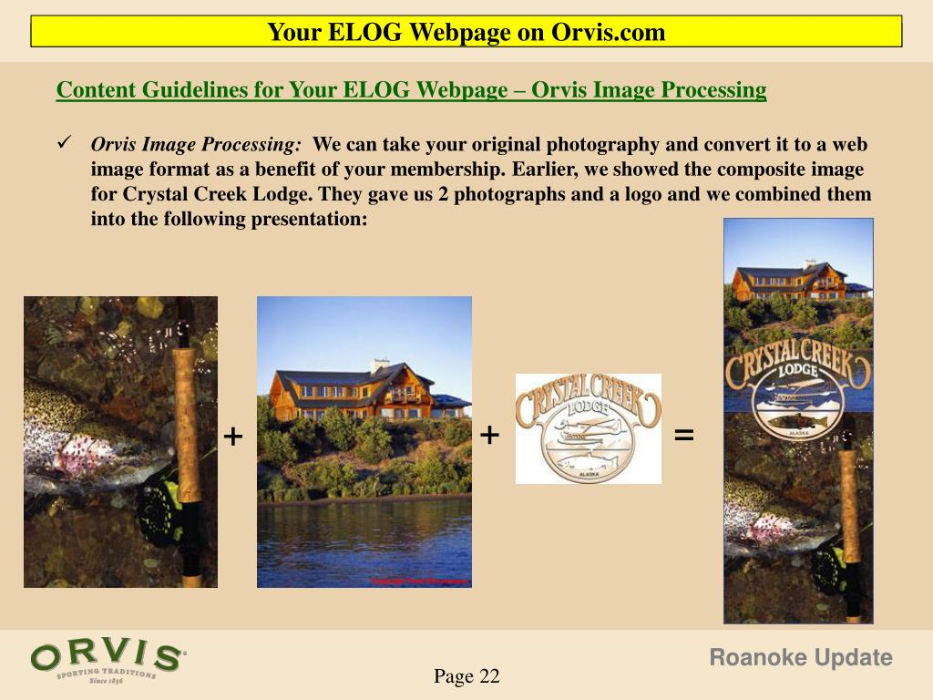 Content Guidelines for Your ELOG Webpage – Orvis Image Processing