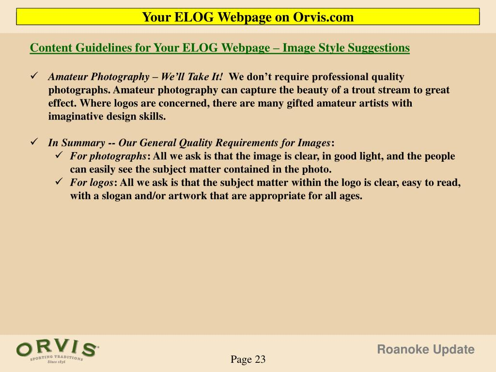 Content Guidelines for Your ELOG Webpage – Image Style Suggestions