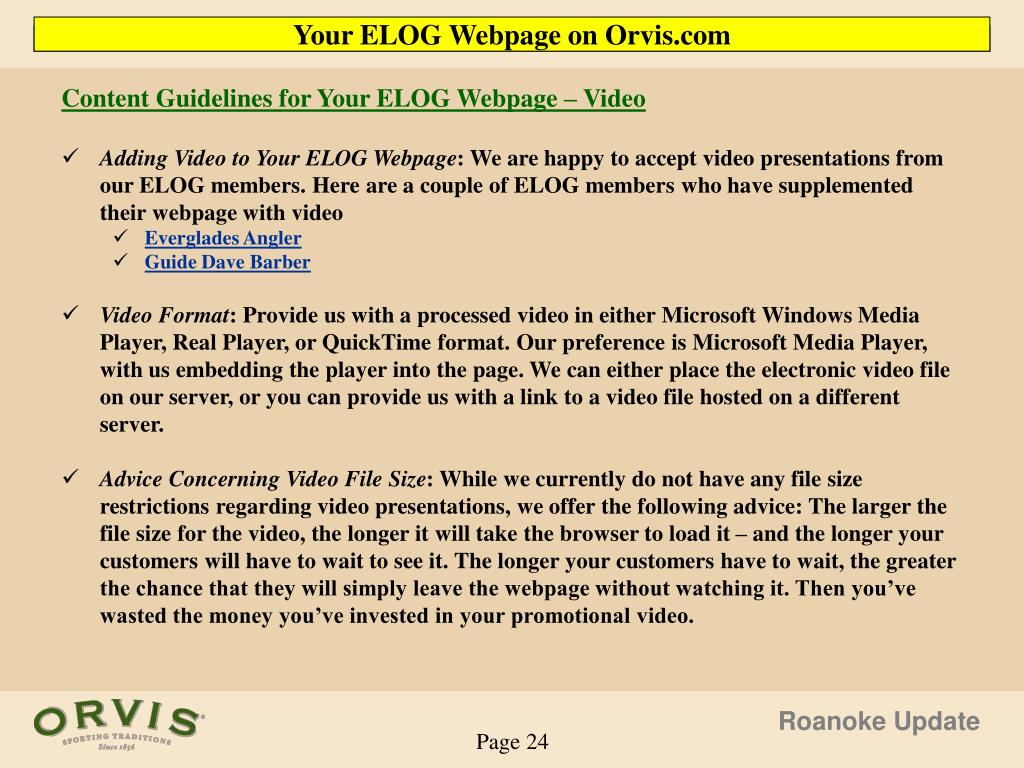 Content Guidelines for Your ELOG Webpage – Video