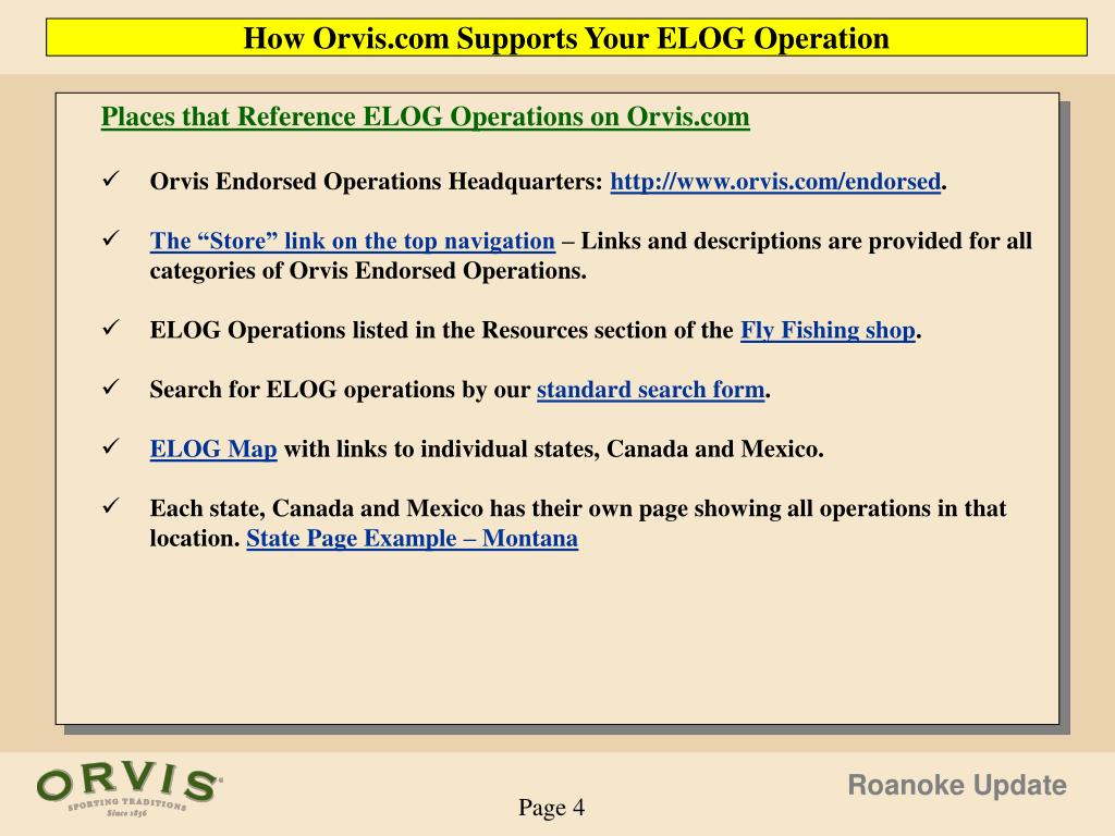 How Orvis.com Supports Your ELOG Operation