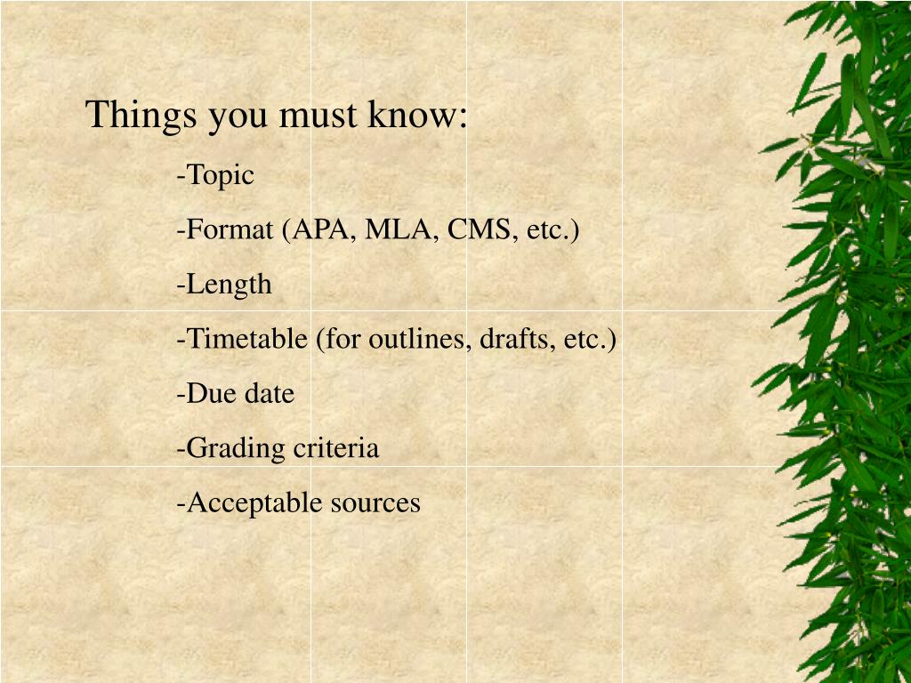 Things you must know: