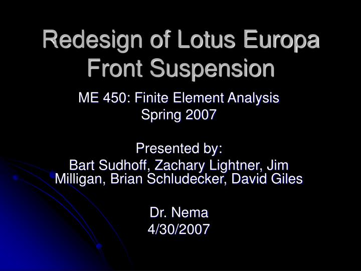 Redesign of lotus europa front suspension