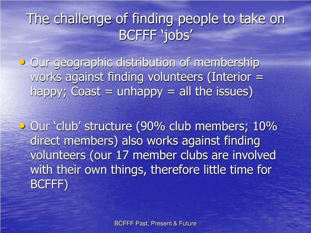 The challenge of finding people to take on BCFFF 'jobs'