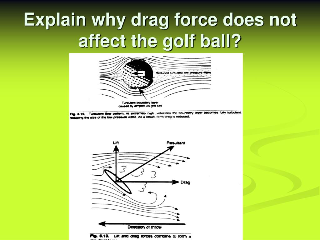Explain why drag force does not affect the golf ball?