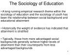 the sociology of education