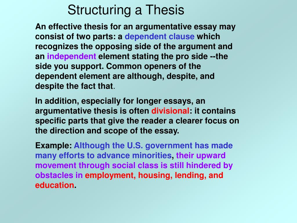 Structuring a Thesis